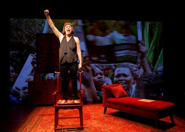 "Eve Ensler performing her new show, ""In the Body of the World."" Photo credit: Joan Marcus."