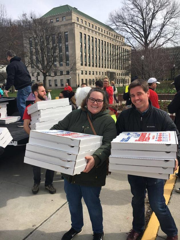 Teachers in San Francisco sent pizza to the picket lines West Virginia as a show of solidarity. Photo credit: Eric Blanc.