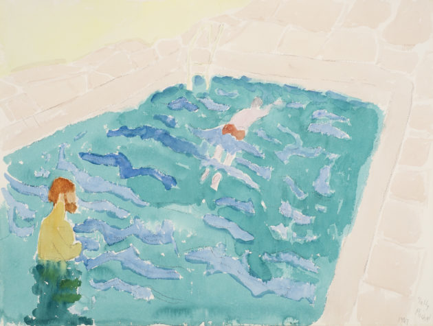 Sally Michel.Swimming Lesson, 1987, Watercolor on paper