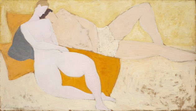 man and wife c.1950s.double sided oil on board