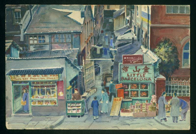 """Shanghai Street Scene"" by David Ludwig Bloch, 1949 Art in Exile, Leo Baeck Institute"