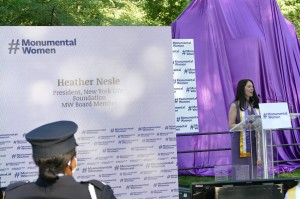 "In the summer of 2016, Heather was on maternity leave when she read about the Central Park effort and vowed to be part of it. As president of New York Life Foundation, her company, agreed to support the project with a $500,000 challenge grant, to make the statue a reality. ""This generous contribution was in no small part, due to the company's relationship with Susan B. Anthony."" Nettle explains, ""Anthony was one of our first female policy owners. Her father and brother-in-law were agents of the company, and she used cash value of her policy to actually get the first women admitted to University of Rochester."" A few months after she joined Monumental Women, Nettle would cast her vote for first female candidate to run for president Hillary Rodham Clinton."